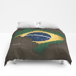 Brazil map special vintage artwork style with flag illustration Comforters