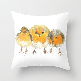 Robin Trio illustration Birds Throw Pillow