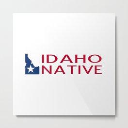 Idaho Native with Idaho Shape and Star Metal Print