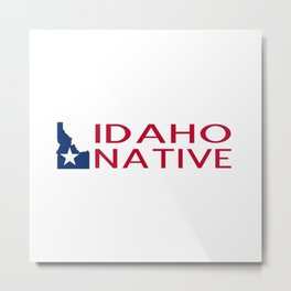 Idaho Native with Idaho Shape and Star Metal Print