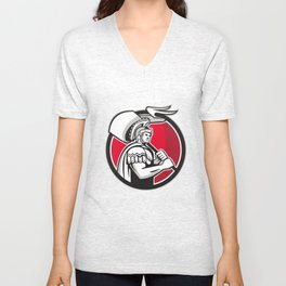Roman Centurion Carry Flag Circle Retro Unisex V-Neck
