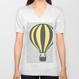 Yellow Hot Air Balloon Unisex V-Neck