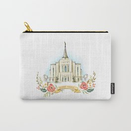 Gilbert Arizona LDS watercolor Temple with flower wreath  Carry-All Pouch