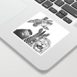 Black and White Jungle Animal Friends Sticker