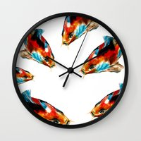 koi Wall Clocks featuring Koi by James Peart