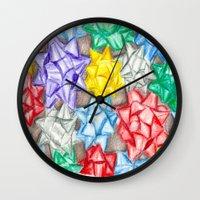 bows Wall Clocks featuring Bows by Lady Tanya bleudragon