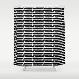 Black Painted Slabwork Bricks on White Shower Curtain