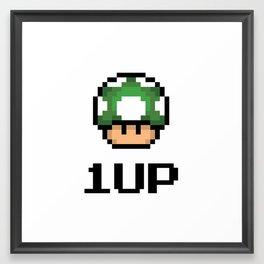 1 Up Green Mushroom Framed Art Print