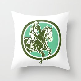 Equestrian Show Jumping Circle Retro Throw Pillow