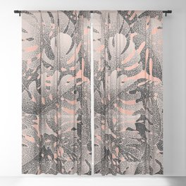 Monstera Gradient Pastel Sheer Curtain