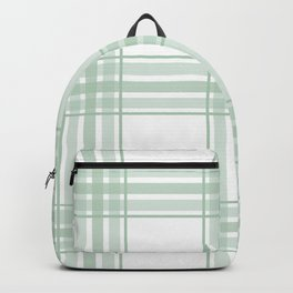 Farmhouse Plaid in Sage Green and White Backpack