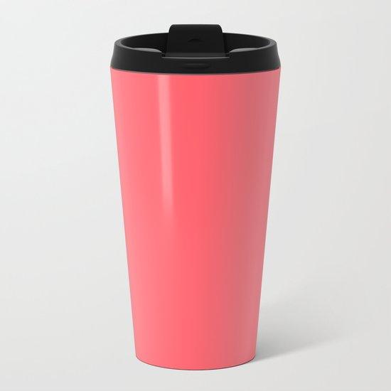 Coral Red Metal Travel Mug