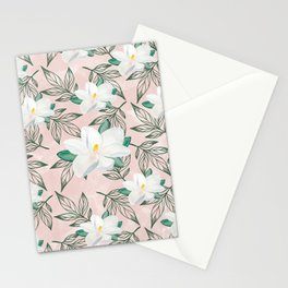 Blush pink watercolor forest green white magnolia blossom Stationery Cards