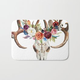 Colorful flowers & feathers dreamcatcher bull skull Bath Mat