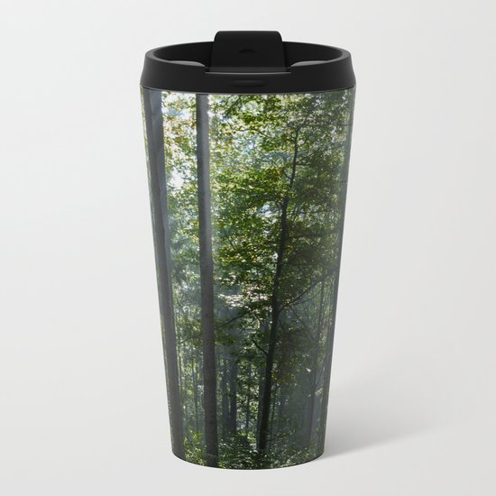 Green forest shrouded the sun. Metal Travel Mug