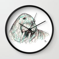 walrus Wall Clocks featuring Walrus by Ursula Rodgers