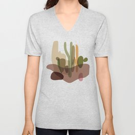 Abstract Desert Cactus Landscape Unisex V-Neck