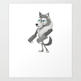 Floss Dance Move Wolf Art Print