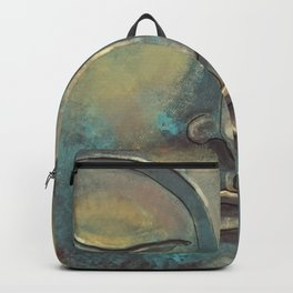 Rusty Golden Copper Buddha Face Watercolor Painting Backpack