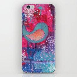 Whimsical Bird Mixed Media iPhone Skin