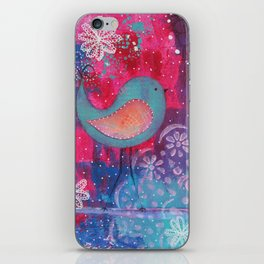 Whimsical Bird Mixed Media iPhone Skin