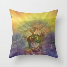 Lion Gator Space Moon River Throw Pillow