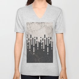 Marble and Geometric Diamond Drips, in Charcoal Grey and Light Beige Unisex V-Neck