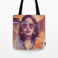 bruce springsteen Tote Bags featuring Welcome to the Fresh Doodle by Fresh Doodle - JP Valderrama