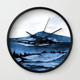 Navy Watercolor Landscape no.1707145n Wall Clock