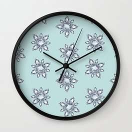 Jewelbox: Diamond Brooch Repeat in Eggshell Aqua Wall Clock