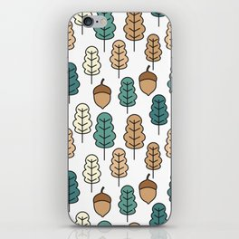 cute pattern illustration with acorns and autumn oak leaves iPhone Skin