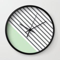 Diagonal Block - Mint Wall Clock