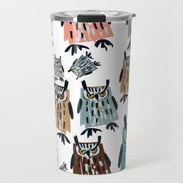 King Owl pattern Travel Mug
