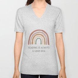 Rainbow Reading - Learning Prints Unisex V-Neck