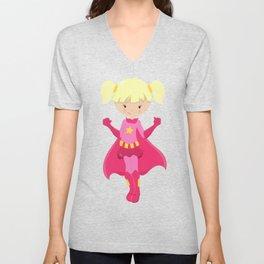 Superhero Girl, Blonde Hair, Pink Cape Unisex V-Neck