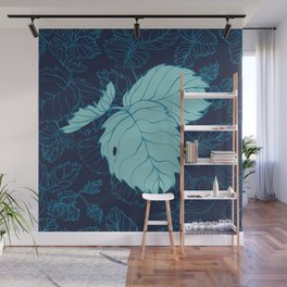 Blue Strawberry Leaves Wall Mural