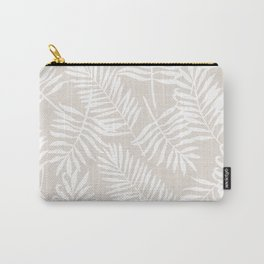 Tropical Palm Leaves - Palm Leaf Pattern - Sandy Beige Carry-All Pouch