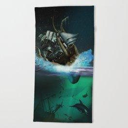 Kraken Attack Beach Towel