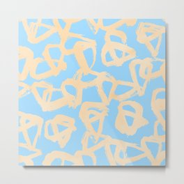 Sweet Life Triangle Dots Orange Sherbet + Blue Raspberry Metal Print