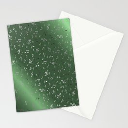 silver music notes metall green Stationery Cards