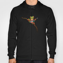 Tree Frog Playing Acoustic Guitar with Flag of Dominican Republic Hoody