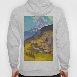The Matterhorn 1925 Hiroshi Yoshida Vintage Japanese Woodblock Print Hoody
