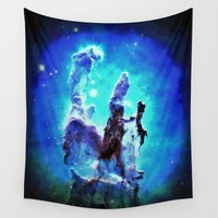 nebula Wall Tapestries featuring Blue Pillars of Creation nEBULA  by 2sweet4words Designs