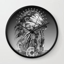 black and white mandala headdress Wall Clock