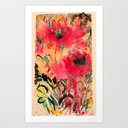 Abstract Poppy Watercolor Art Print