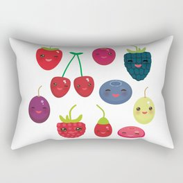 Kawaii Cherry Strawberry Raspberry Blackberry Blueberry Cranberry Cowberry Goji Grape Rectangular Pillow