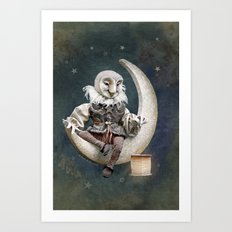 Rucus Studio Owl Poet Art Print