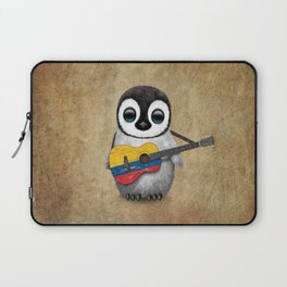 Baby Penguin Playing Colombian Flag Acoustic Guitar Laptop Sleeve