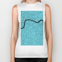 London Turquoise on Black Street Map Biker Tank