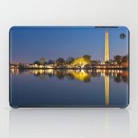 washington dc iPad Cases featuring Washington DC Dawn Monument by Nicolas Raymond